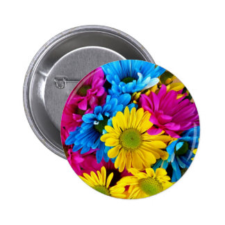 Brightly Colored Daisies Button
