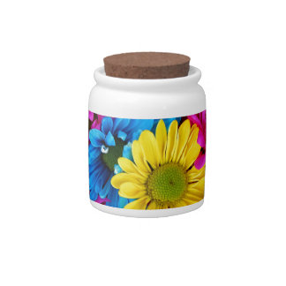 Brightly Colored Daisies Candy Jar