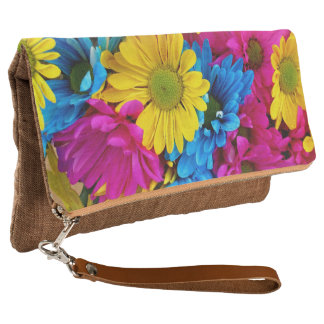 Brightly Colored Daisies Fold Over Clutch