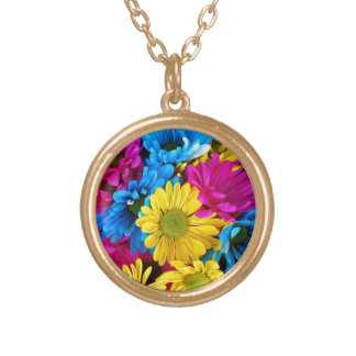 Brightly Colored Daisies Gold Plated Necklace