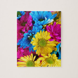 Brightly Colored Daisies Jigsaw Puzzle