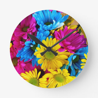 Brightly Colored Daisies Round Clock