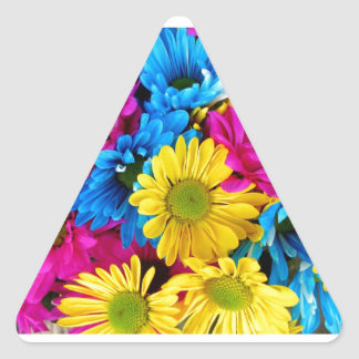 Brightly Colored Daisies Triangle Sticker