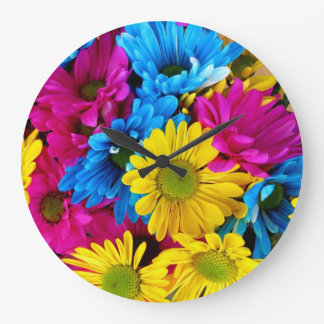 Brightly Colored Daisies Wall clock