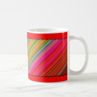 Brightly Colored Design With Red Border Top-Bottom Coffee Mug