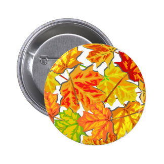 Brightly Colored Fall Leaves Pinback Button