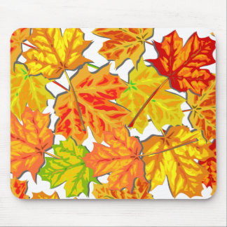 Brightly Colored Fall Leaves Mouse Pad