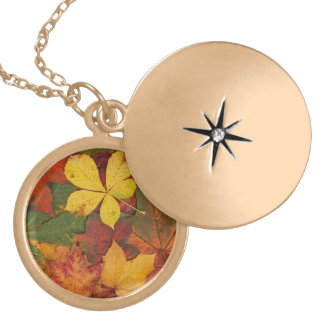 Brightly Colored Fall Leaves Necklace