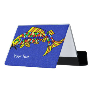 Brightly Colored Fancy Fish on Blue with Sparkles Desk Business Card Holder