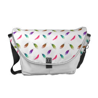 Brightly Colored Feathers On White Courier Bag