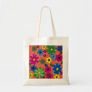 Brightly Colored Floral on Orange Tote Bag