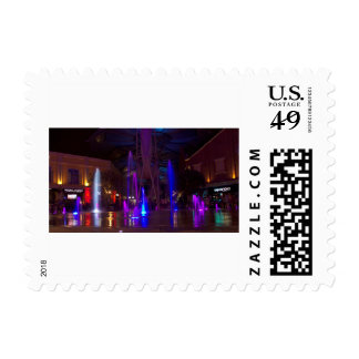 Brightly colored fountains postage
