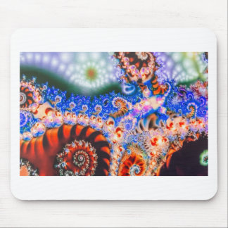Brightly colored fractals mouse pad