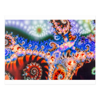 Brightly colored fractals postcard