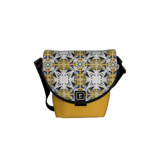 Brightly colored geometric pattern messenger bag