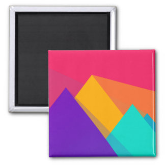 Brightly Colored Geometric Triangles and Pyramids 2 Inch Square Magnet