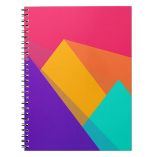 Brightly Colored Geometric Triangles and Pyramids Spiral Note Book