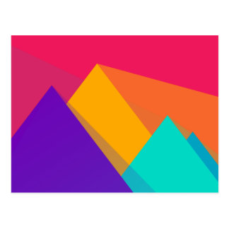 Brightly Colored Geometric Triangles and Pyramids Postcard
