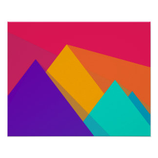 Brightly Colored Geometric Triangles and Pyramids Poster