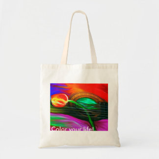 Brightly Colored Guitar Rose Inspirational Tote