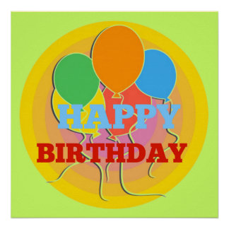 Brightly Colored Happy Birthday Balloons Poster