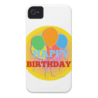Brightly Colored Happy Birthdday Balloons iPhone 4 Cases