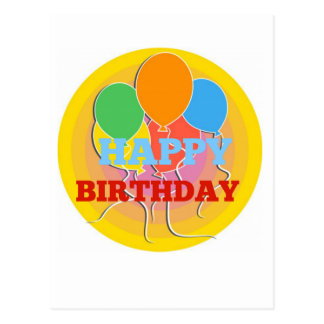 Brightly Colored Happy Birthdday Balloons Postcard