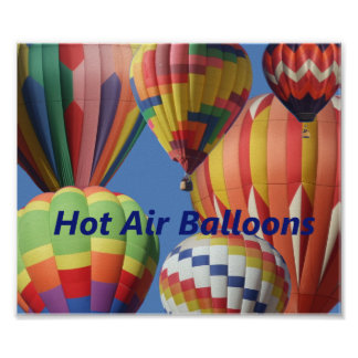 Brightly Colored Hot Air Balloons Poster