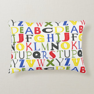 Brightly Colored Letters by Megan Meagher Accent Pillow