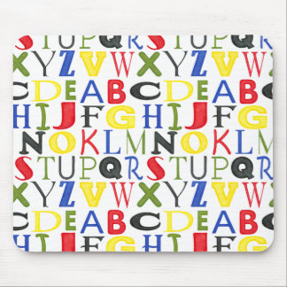 Brightly Colored Letters by Megan Meagher Mouse Pad