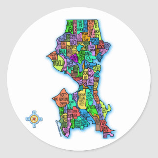Brightly Colored Map of Seattle Classic Round Sticker