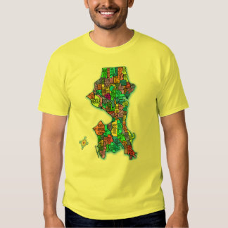 Brightly Colored Map of Seattle T-shirt