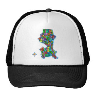 Brightly Colored Map of Seattle Trucker Hat