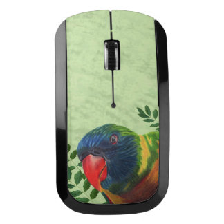Brightly Colored Parrot Head Red Beak Leaves Wireless Mouse