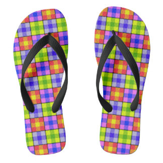Brightly Colored Patchwork Design Flip Flops