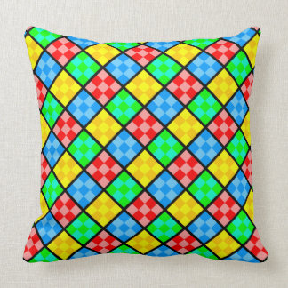 Brightly Colored Patchwork Style Throw Pillow