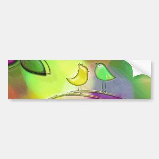 Brightly Colored Rainbow Love Birds Bumper Sticker