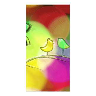 Brightly Colored Rainbow Love Birds Photo Card Template