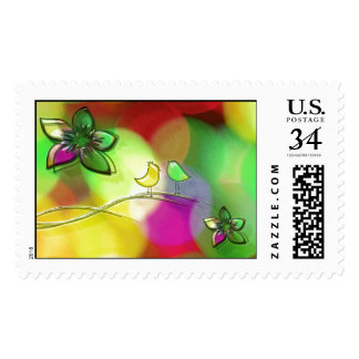Brightly Colored Rainbow Love Birds Stamps