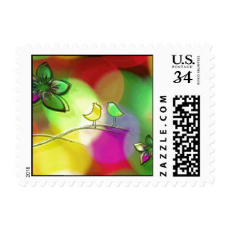 Brightly Colored Rainbow Love Birds Stamp