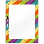 Brightly Colored Rainbow Striped Dry Erase White Board