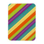 Brightly Colored Rainbow Striped Rectangle Magnet
