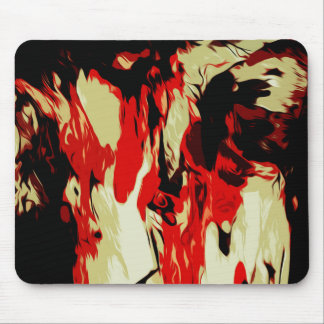 Brightly Colored Red Yellow Black Abstract Pattern Mouse Pad