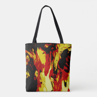 Brightly Colored Red Yellow Black Abstract Pattern Tote Bag