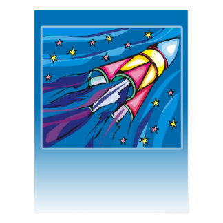 Brightly Colored Rocket Illustration Greeting Card