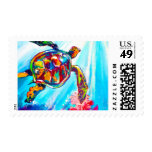 Brightly Colored Sea Turtle Painting Postage Stamp