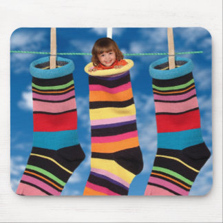 Brightly colored socks mouse pad
