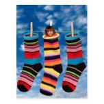 Brightly colored socks postcard