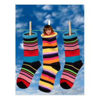 Brightly colored socks postcard