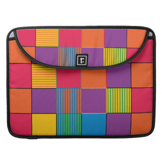 Brightly Colored Squares and Stripes Sleeve For MacBooks